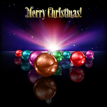 abstract purple greeting with Christmas decorations on black background Vector