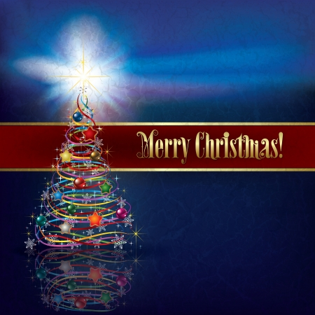 blue greeting with Christmas tree on grunge background Vector