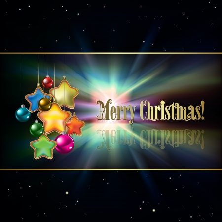 Abstract black background with Christmas decorations and stars Stock Vector - 20694356