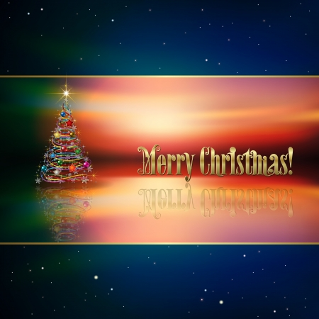 Abstract blue background with Christmas tree and decorations Vector