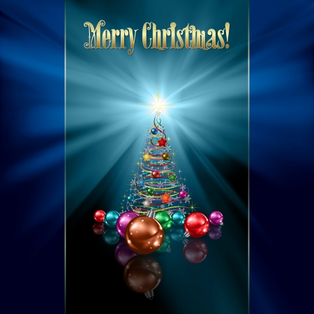 abstract blue greeting with Christmas tree and decorations Vector