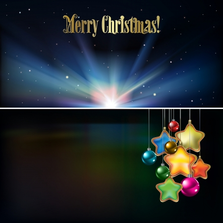 Abstract Christmas background with decorations and stars Vector
