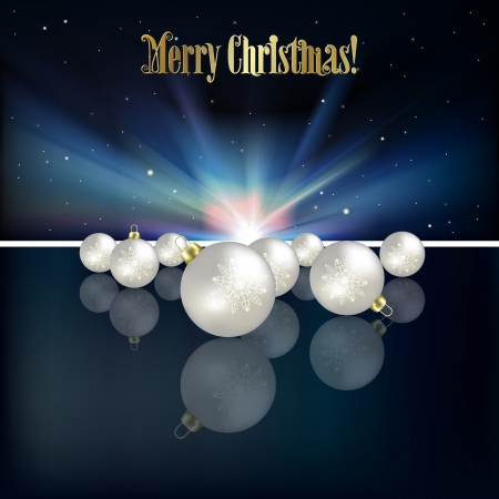 Abstract Christmas greeting with decorations and stars Vector