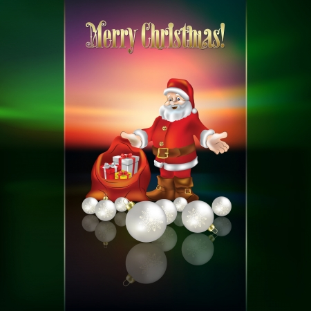 abstract Christmas greeting with Santa and decorations Stock Vector - 20694365