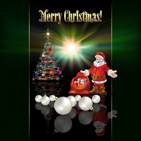 abstract Christmas greeting with Santa Claus and decorations Vector
