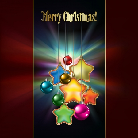 Abstract dark red background with Christmas decorations Vector