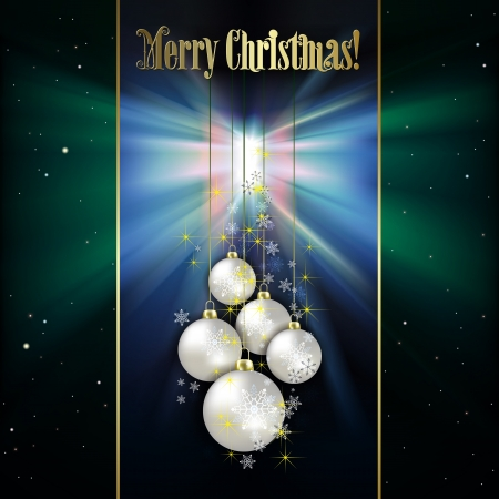 Abstract green background with white Christmas decorations and stars Vector