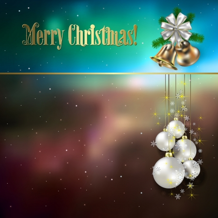 Abstract background with Christmas decorations bells and stars Vector
