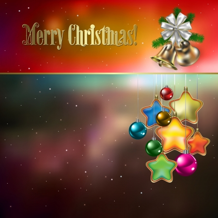 Abstract background with Christmas decorations stars and bells Vector