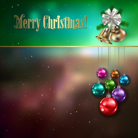 Abstract celebration background with Christmas decorations stars and bells Vector