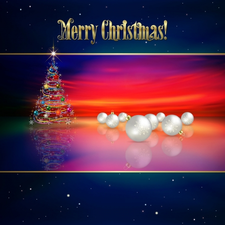 Abstract celebration background with Christmas tree and white decorations Vector