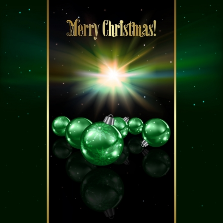 Abstract celebration background with green Christmas decorations and stars Stock Vector - 20906877