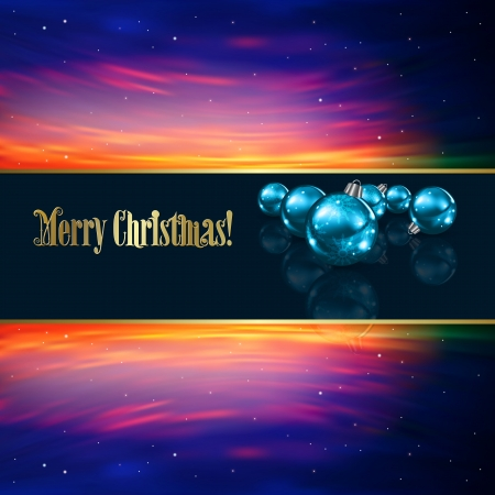 Abstract Christmas greeting with blue decorations and stars Vector