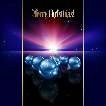 Abstract celebration background with blue Christmas decorations and stars Vector