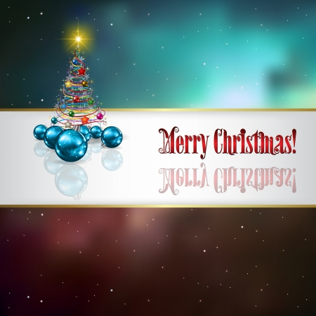 Abstract celebration background with blue decorations and Christmas tree Vector