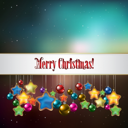 Abstract celebration background with Christmas decorations and stars Vector