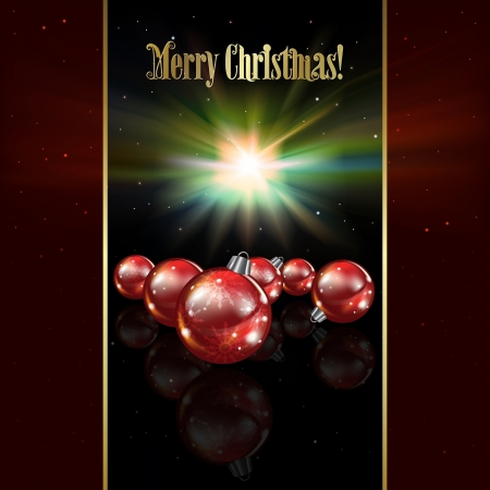 Abstract celebration background with red Christmas decorations and stars Vector