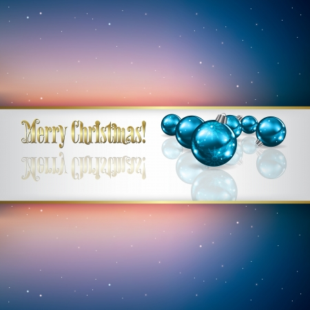 Abstract celebration greeting with blue Christmas decorations Vector