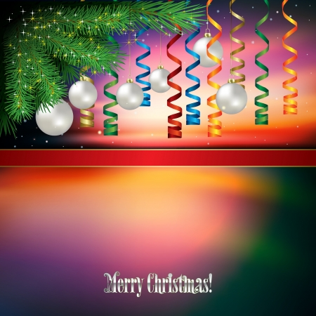 Abstract background with Christmas decorations and red ribbon Stock Vector - 21030809