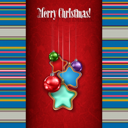 etno: Abstract grunge background with white Christmas decorations on red Illustration