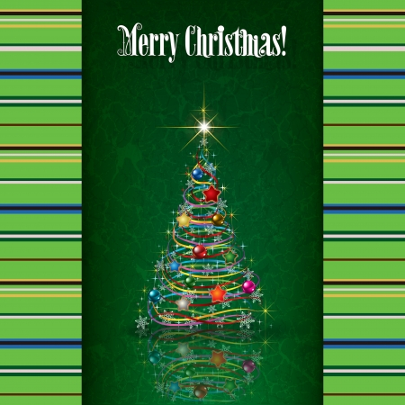 etno: Abstract grunge background with white Christmas tree on green Illustration