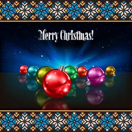 etno: Abstract background with Christmas decorations and etno estonian ornament