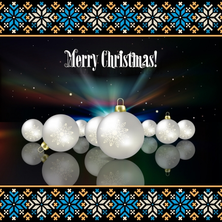 etno: Abstract background with Christmas decorations and national estonian ornament