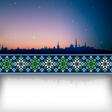 estonia: abstract background with silhouette of Tallinn and national ornament