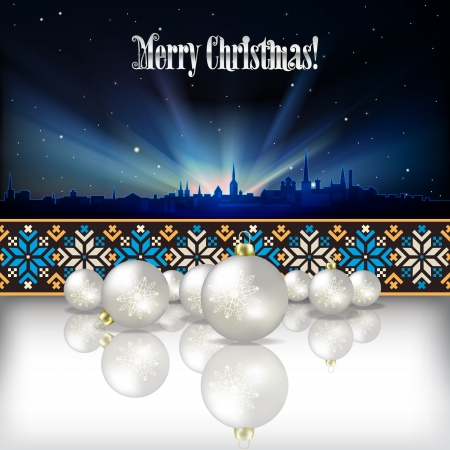 etno: Abstract celebration background with Christmas decorations and silhouette of Tallinn