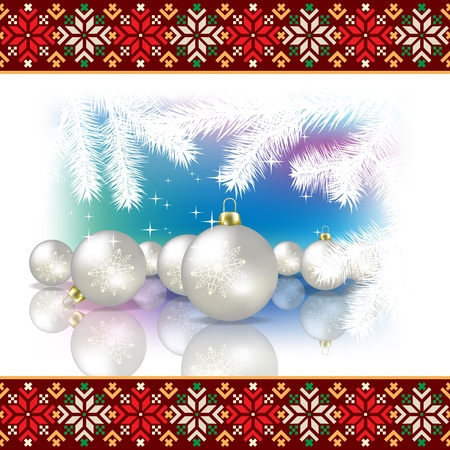 etno: Abstract celebration background with Christmas pearl decorations and estonian national ornament