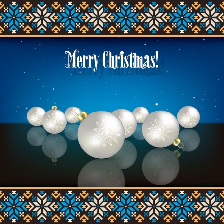 ethno: abstract Christmas background with decorations and ethno ornament