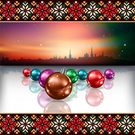 estonia: abstract Christmas background with silhouette of Tallinn and ethno ornament