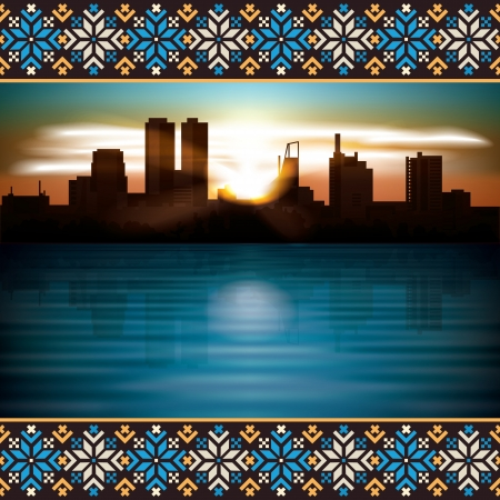 etno: abstract background with etno ornament and silhouette of city