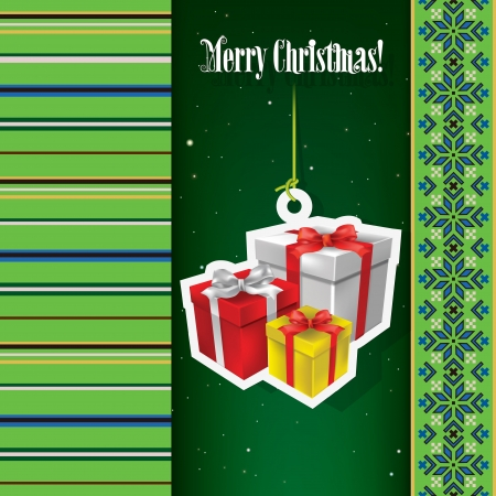 christmas gift box: Abstract celebration background with Christmas gifts and ethno ornament