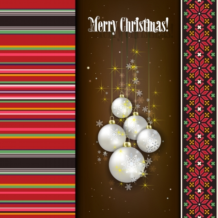 estonia: Abstract celebration background with white Christmas decorations and ethno ornament
