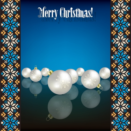 etno: Abstract grunge background with white Christmas decorations on blue