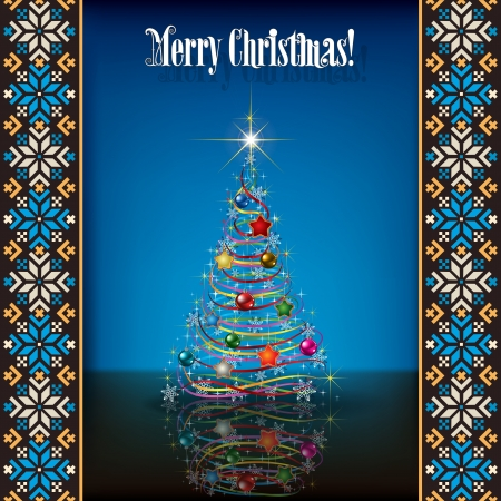 etno: Abstract grunge background with white Christmas tree and decorations on blue Illustration