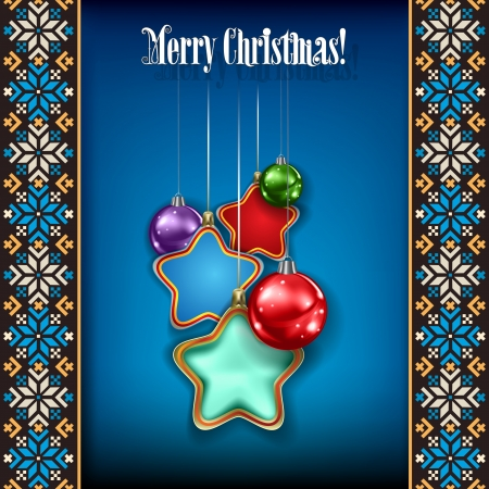 etno: Abstract grunge background with Christmas decorations on blue