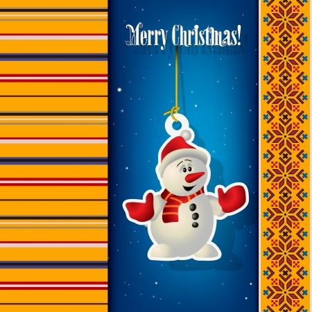 ethno: Abstract Christmas background with snowman and ethno ornament
