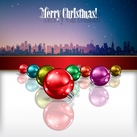 Abstract celebration background with Christmas decorations and silhouette of city Stock Vector - 21425688