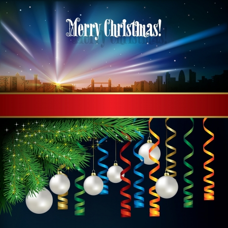 Abstract celebration background with Christmas decorations and silhouette of London Stock Vector - 21425689