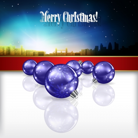 sky line: Abstract celebration background with silhouette of London and blue Christmas decorations