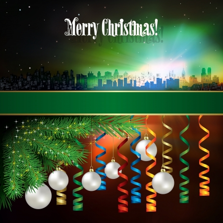 tranquil scene on urban scene: Abstract celebration background with silhouette of New York and Christmas decorations