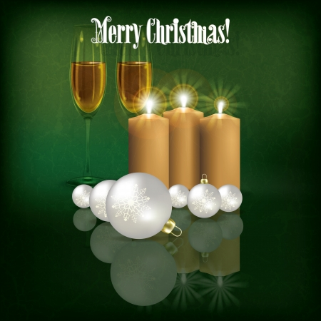 Abstract grunge background with candles and Christmas decorations Vector