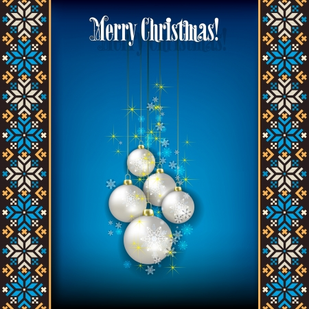etno: Abstract grunge background with white Christmas decorations and snowflakes on blue Illustration