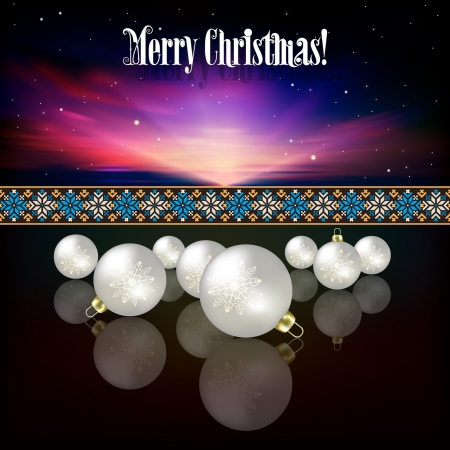Abstract celebration background with white Christmas decorations on dark Stock Vector - 21425727