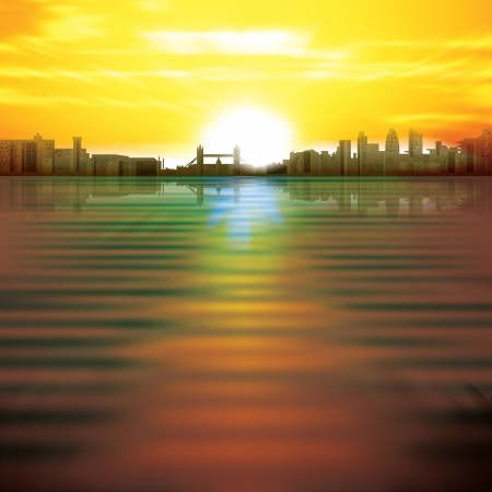 abstract background with yellow sunrise and silhouette of London Vector