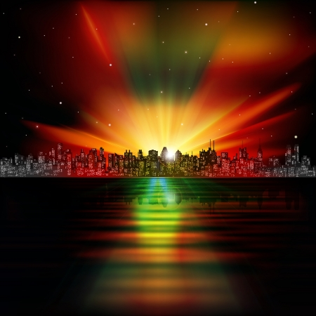 abstract nature background with silhouette of city and sunrise Vector