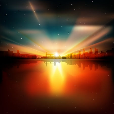 abstract london: abstract nature background with silhouette of London and sunrise Illustration