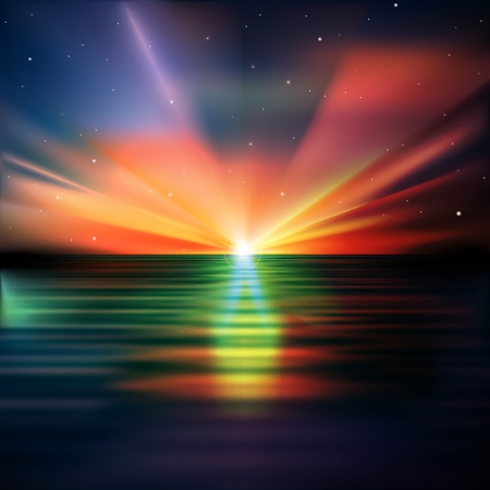 abstract nature background with stars and ocean sunrise Stock Vector - 21639418